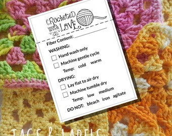 "Care Instruction Printable PDF Cards for Crocheters - Whimsical ""Crocheted with Love"" Labels or Tags for DIY Handmade Crochet Crafts"