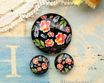 Vintage Flowers Glass Domes, 8mm 10mm 12mm 14mm 16mm 18mm 20mm 25mm 30mm Photo Glass Cabochons  - RCH010L