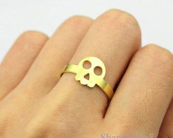 2pcs Raw Brass Skull Ring, Adjustable Death Brass Rings - TR033