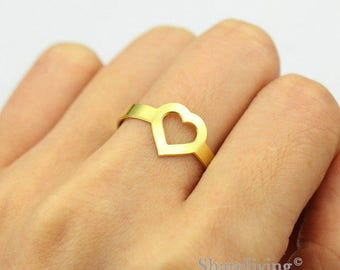2pcs Raw Brass Heart Ring, Simple Ring, Adjustable Love Brass Rings - TR051
