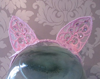 Baby Pink Embroidered Lace Cat Ears Headband with Pale Pink Crystal Diamantes