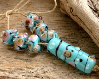 PIXIE - Handmade Lampwork Bicone Beads - Earring Pairs - Tube Focal Bead - 7 Beads