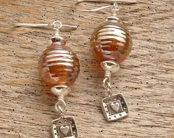 HONEY - Handmade Lampwork, Sterling Silver Earrings