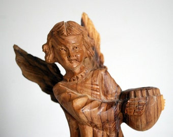 Carved Wood Angel, Olive Wood Sculpture, Vintage Folk Art, Travel Souvenir, Rustic Wood Figurine, Christmas Decor, Nativity Set, Angel Wings