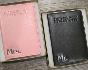 Mr. & Mrs. Custom Embroidered Leather Passport Holders (Set of 2) w/ Gift Boxes for; Wedding, Anniversary, Honeymoon, Holiday, Travel