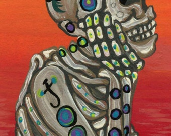 ACEO ATC Original Gouache Painting Sugar Skull Day of the Dead Art-Carla Smale