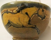 Cereal bowl with horses slip trailed pottery