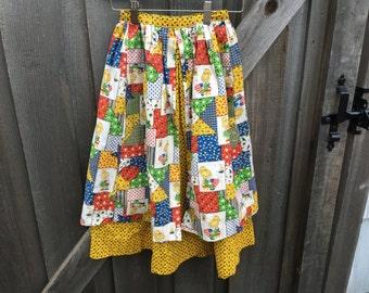 1970s Patchwork Skirt Girls 7/8