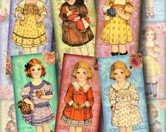 "Vintage Doll Images- Set of 15 Mini Bookmarks/Tags -1.5""x3.5"" -Instant Download- Printable Collage Sheet  JPG Digital File"