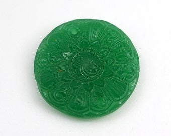Vintage green two hole component, opaque glass flat round flower pendant, German 25mm