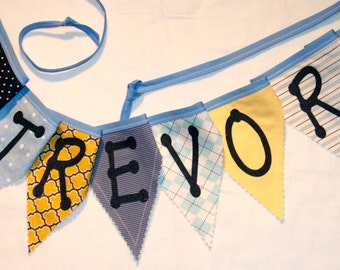 Boys personalized name pennant bunting fabric banner - boys nursery birthday bedroom decor