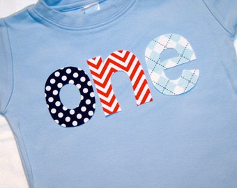 Boys ONE Shirt for 1st Birthday - short sleeve 18 month light blue shirt with navy polkadot red chevron and light blue argyle