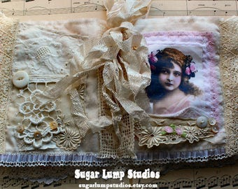 Rose Garden Journal OOAK Fabric Book with vintage laces and mother of pearl buttons