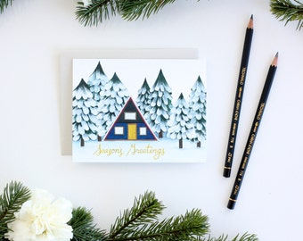 Winter Cabin Holiday Card - Seasons Greetings Card - Christmas Card - Holiday Card - Winter Card - Snowy Forest Card -Snowy Cabin Card Set 8