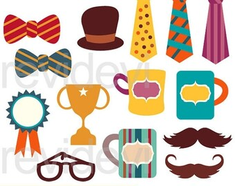 50% OFF SALE Happy Father's Day Clipart - Bow tie, trophy, mug, mustache, hat clipart - instant download