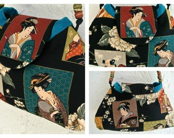 Black Shoulder Bag , Japanese Print Purse , Traditional Japanese Clothing , OOAK Handbag , Pocketbook , Gift for Women , For Her