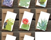 Birds in Gardens Assortment of Flat Panel Cards: Cacti and Succulents