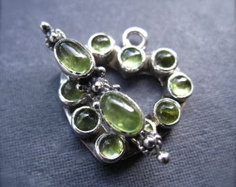 Sterling Silver and Peridot Toggle Clasp heart shaped