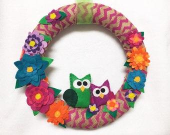 Owl Wreath, Burlap Wreath, Pink Chevron and Felt Flowers, Rainbow, Spring Wreath, Door Hanging, Housewarming Gift