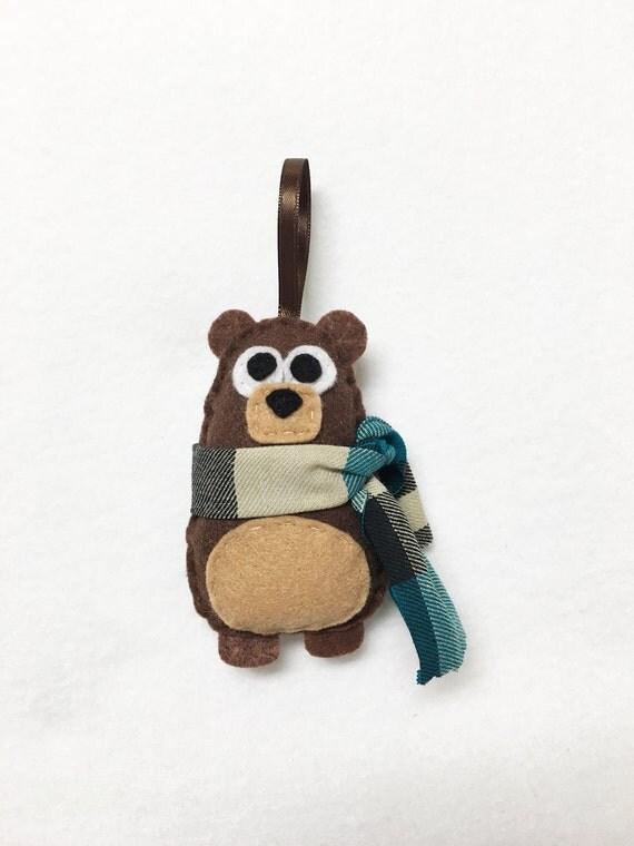 Bear Ornament, Christmas Ornament, Nester the Bear - Made to Order, Felt Ornament, Forest Animal, Woodland Decoration, Farmhouse Decor
