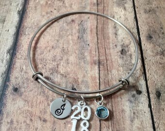 2018 Graduation initial bangle - graduation jewelry, gift for grad, 2018 bracelet, silver grad bangle, class of 2018 jewelry, grad gift