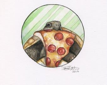 4 x 6 Print - Pizza Turtle