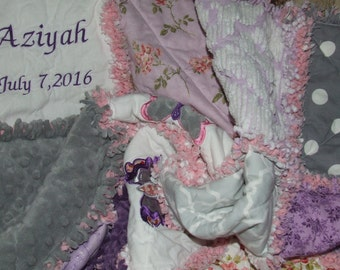 Custom Rag Quilt Personalized Butterfly Gray Purple w/Hint of Pink Vintage Chenille n Minky Sampler Baby Toddler To Adult * Made to Order *