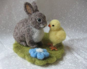 Needle Felted Bunny,Needle Felted Chick,Needle Felted Rabbit, Cottontail Rabbit,Felted Farm Animals,Baby Bunny,Waldorf Doll