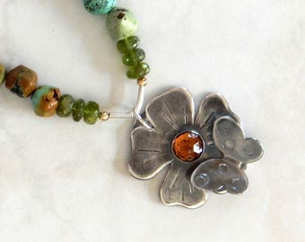 Flower Necklace Natural Gemstones Sterling Silver Flower Pendant Boho Necklace Statement Necklace Flower Jewelry Gift For Her Boho Jewelry