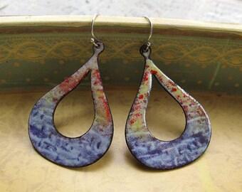 Boho Hoop earrings - denim inspired blue Enamel earrings - colorful Bohemian jewelry