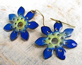 Enamel earrings - blue flower dangle earrings - Gift for Mom - bohemian jewelry