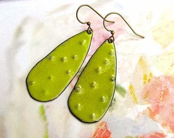 Rustic enamel earrings - apple green earrings - torch fire artisan bohemian jewelry
