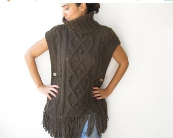 WINTER SALE Brown Cable Knit Poncho by Afra