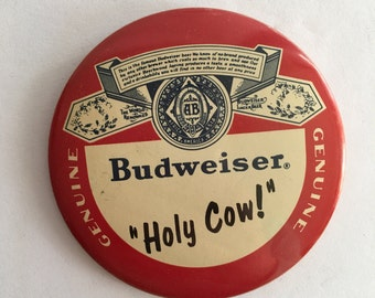 "Budweiser Beer Advertising Pin Back Pin ""Holy Cow!"" Harry Caray Chicago Cubs Baseball and Brewskies"