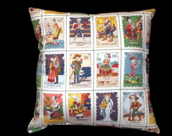 Mexican Art Day of the Dead Loteria  Throw Pillow Decorative Pillow Cushion Home Decor Bedding