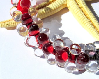 SMAUGGS handmade beadset BOBBELS (10pcs., 15mmx7mm), glass, darkred, transparent, hole 2mm