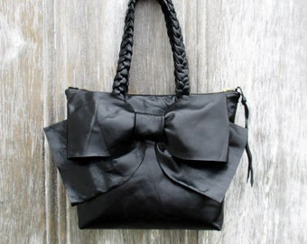 Petite Leather Bow Bag in Black by Stacy Leigh