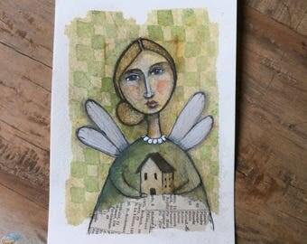 Greeting card watercolor art piece tea bag angel home