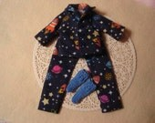 Blythe Rocket Ship Flannel Pajamas and Sleep Socks--Pullip and Vintage Skipper--Boy Dolls Too!