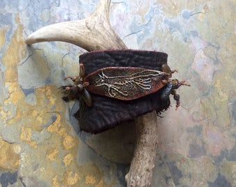 Running Fox Buffalo Leather Cuff. Rustic Jewelry, Leather Bracelet, Foxpaws.