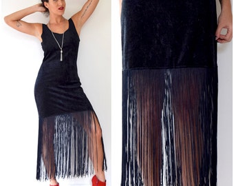 Vintage 80s 90s Black Velvet Fringe Body Con Mini Dress (size medium, large)