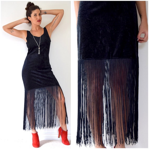SPRING SALE/ 20% off Vintage 80s 90s Black Velvet Fringe Body Con Mini Dress (size medium, large)