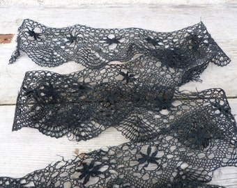 Vintage Antique 1900 French Handmade black cotton bobbin lace 95 inches