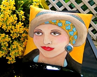 BEAUTIFUL MAGGIE PILLOW,  Hand Painted Pillow, Breast Cancer Awareness, yellow-orange, turquoise, earring, gift for woman, mustard yellow,