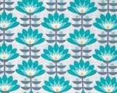 Joel Dewberry Fabric, Atrium, Deco Bloom, Mint, Floral, cotton quilting fabric -  YARD