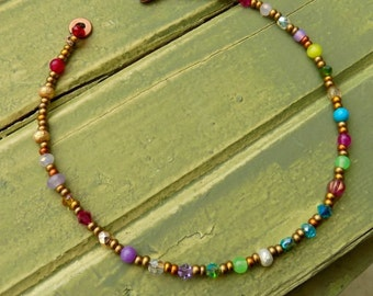 Indian summer anklet, boho, natural jewelry