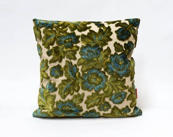 Velvet Pillow Cover 16x16, blue floral cushion cover, decorative couch pillow, vintage upholstery fabric - Handmade by EllaOsix