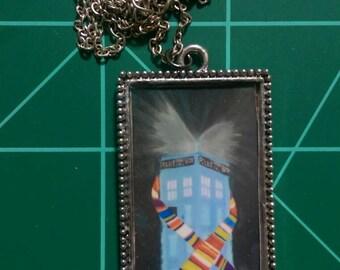 Dr. Who Tardis Homage to Tom Baker Pendant Necklace Original Artwork 4th Doctor