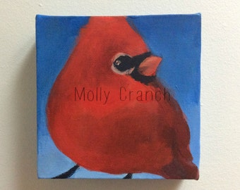 Wonderment- Small Original Painting of Northern Cardinal