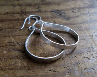 Rustic Sterling Silver Tab Hoop Earrings